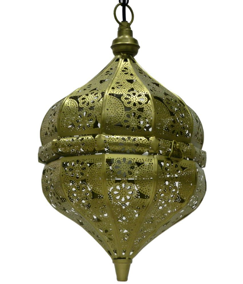 GAARV Antique Finish Gold Moroccon Ceiling Lamp Pendant Gold - Pack of 1