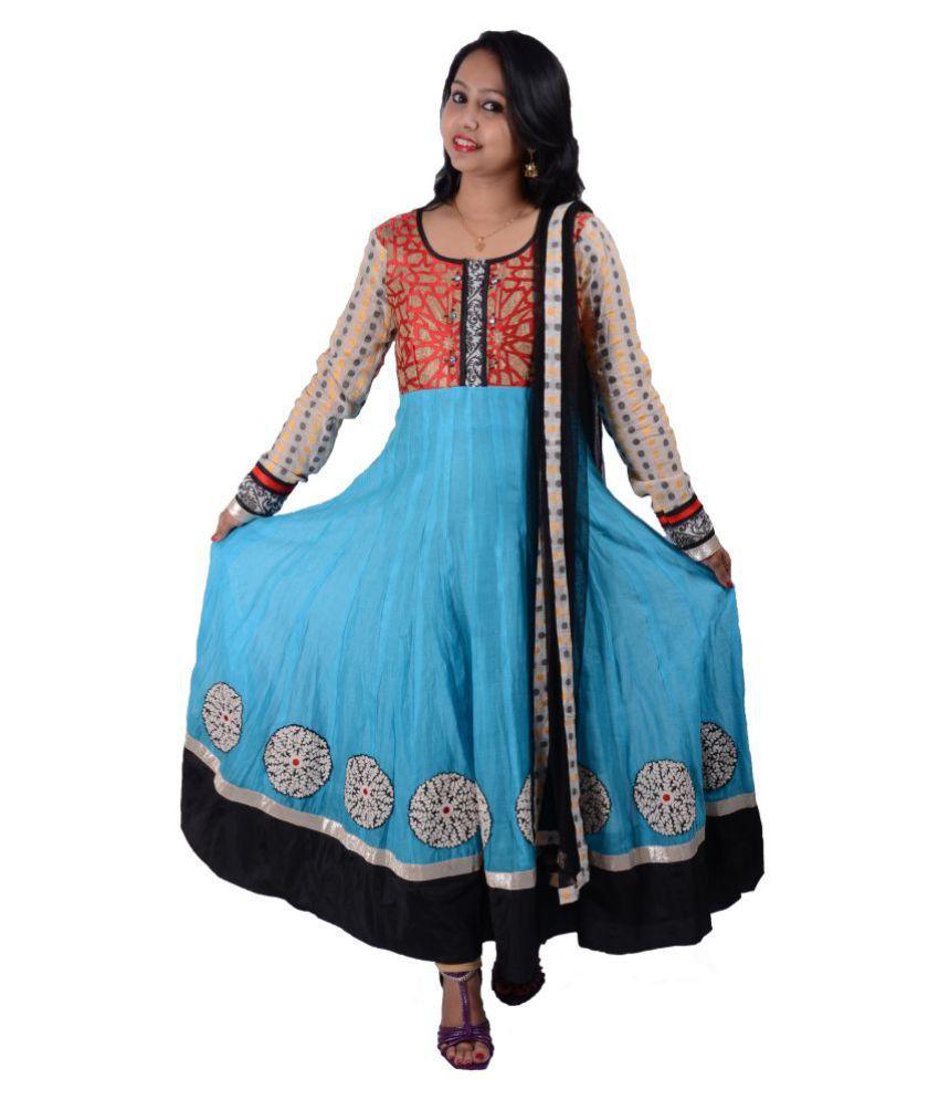 Manashi Blue Chanderi Anarkali Stitched Suit