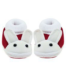 Neska Moda Baby Boys & Girls Rabbit Maroon Booties For 0 To 12 Months Infants