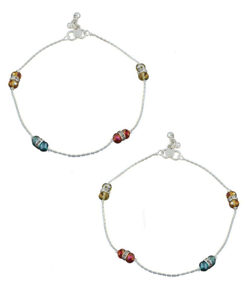 Anuradha Art Silver Finish Styled With Multi Colour Designer Traditional Anklet/Payal For Women/Girls