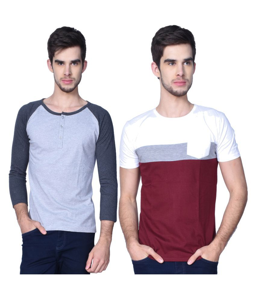 GliZt Grey Henley T-Shirt Pack of 2