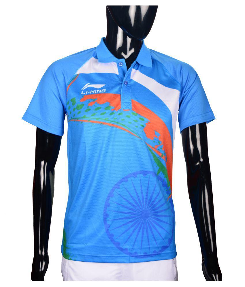 Li-Ning Sky Blue Polyester T-Shirt Single Pack