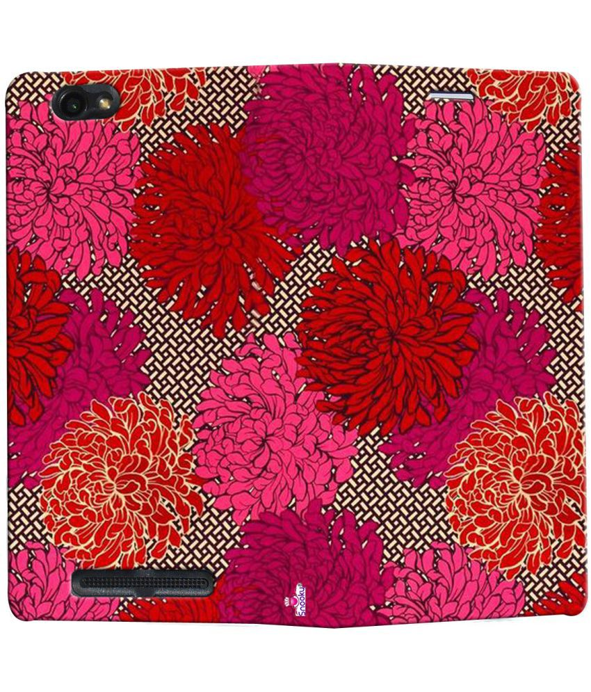 Lava A88 Flip Cover by Snooky - Red