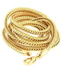 Gold Plated Neck Chain for Men & Women, Gold Tone, 24 Inch Long, Designer, Round Shaped