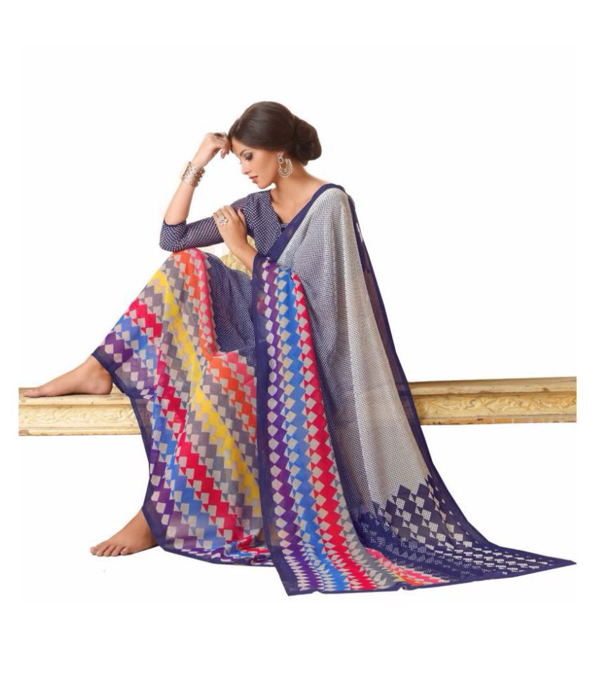 Meera Fashion Grey and Beige Georgette Saree