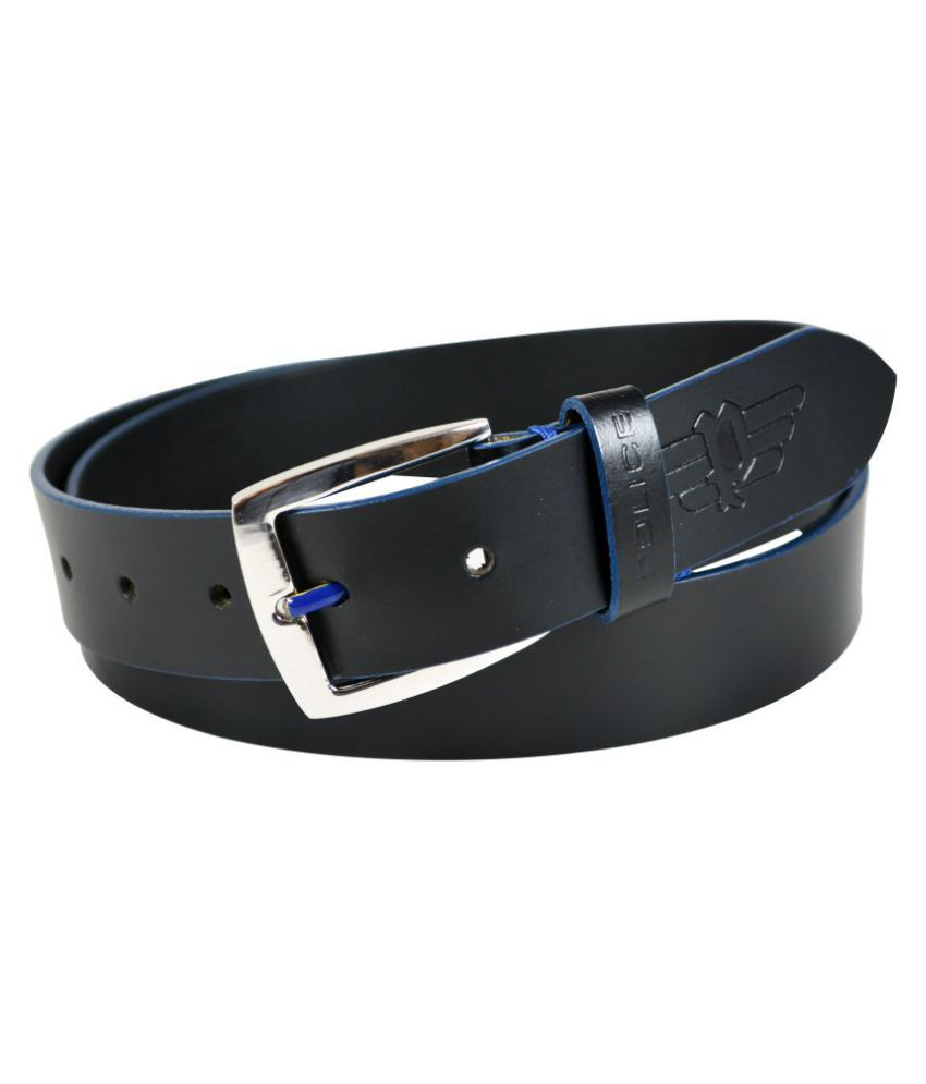Police Blue Leather Casual Belts