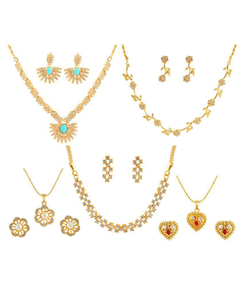 Touchstone Golden Designer Necklace & Set with Two Pendant Set
