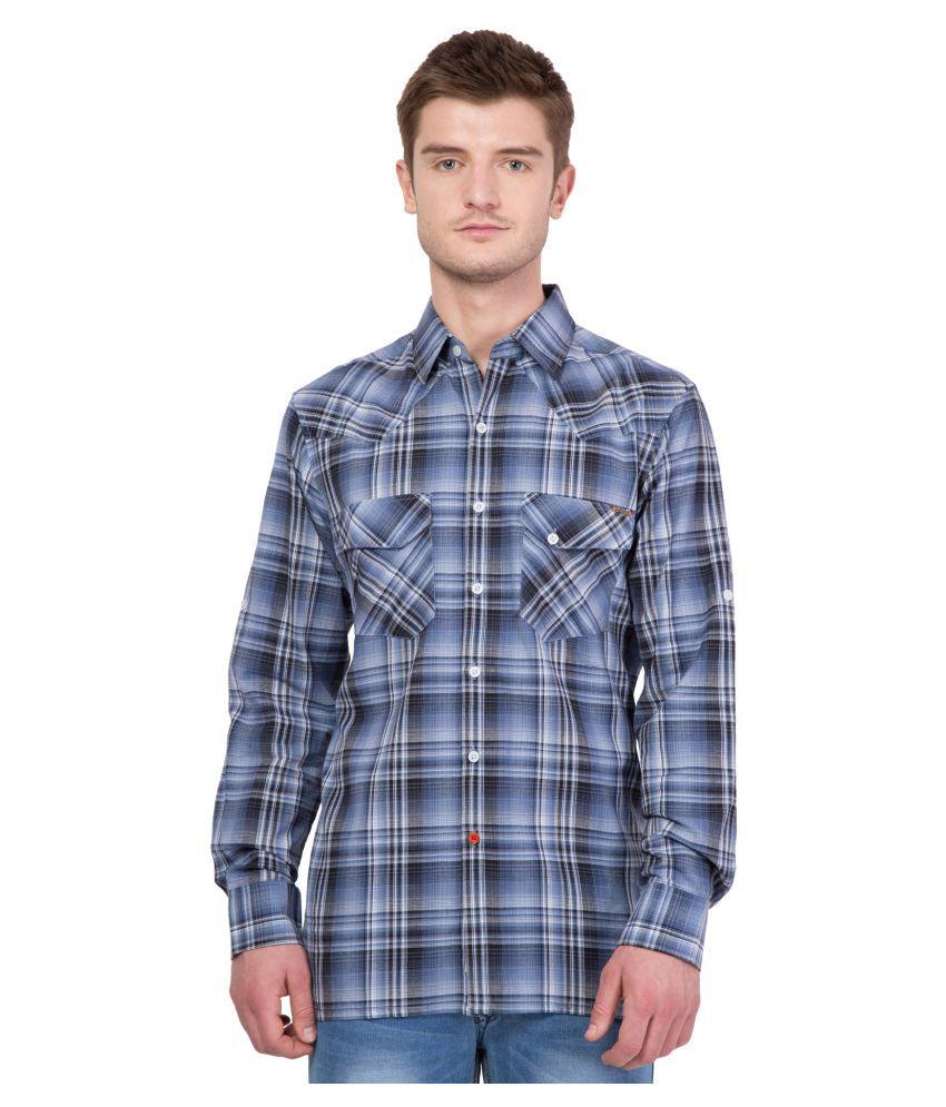 American-Elm Blue Casual Regular Fit Shirt