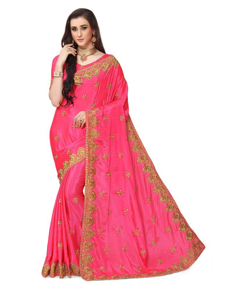 IndianEfashion Red and Pink Georgette Saree