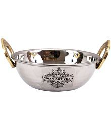 Stainless Steel Kadhai With Brass Handle - 631077573710