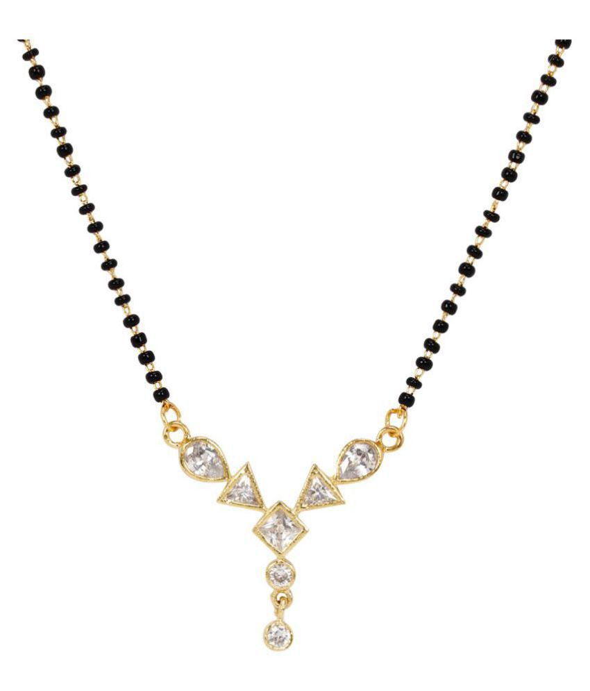 Jewels Gehna Attractive Gold Plated Studded Diamond Pretty Mangalsutra With Chain For Women & Girls