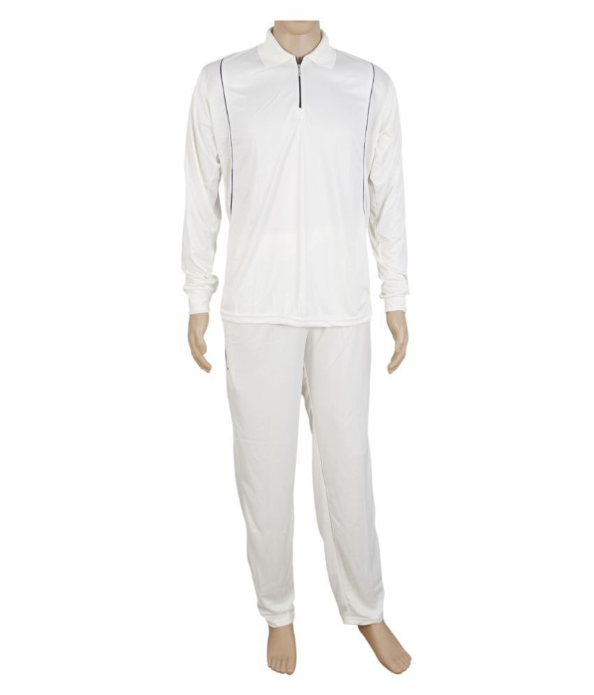 RW Cream Polyester Cricket Uniform / Dress with Full Sleeve Jersey + Trackpant Combo
