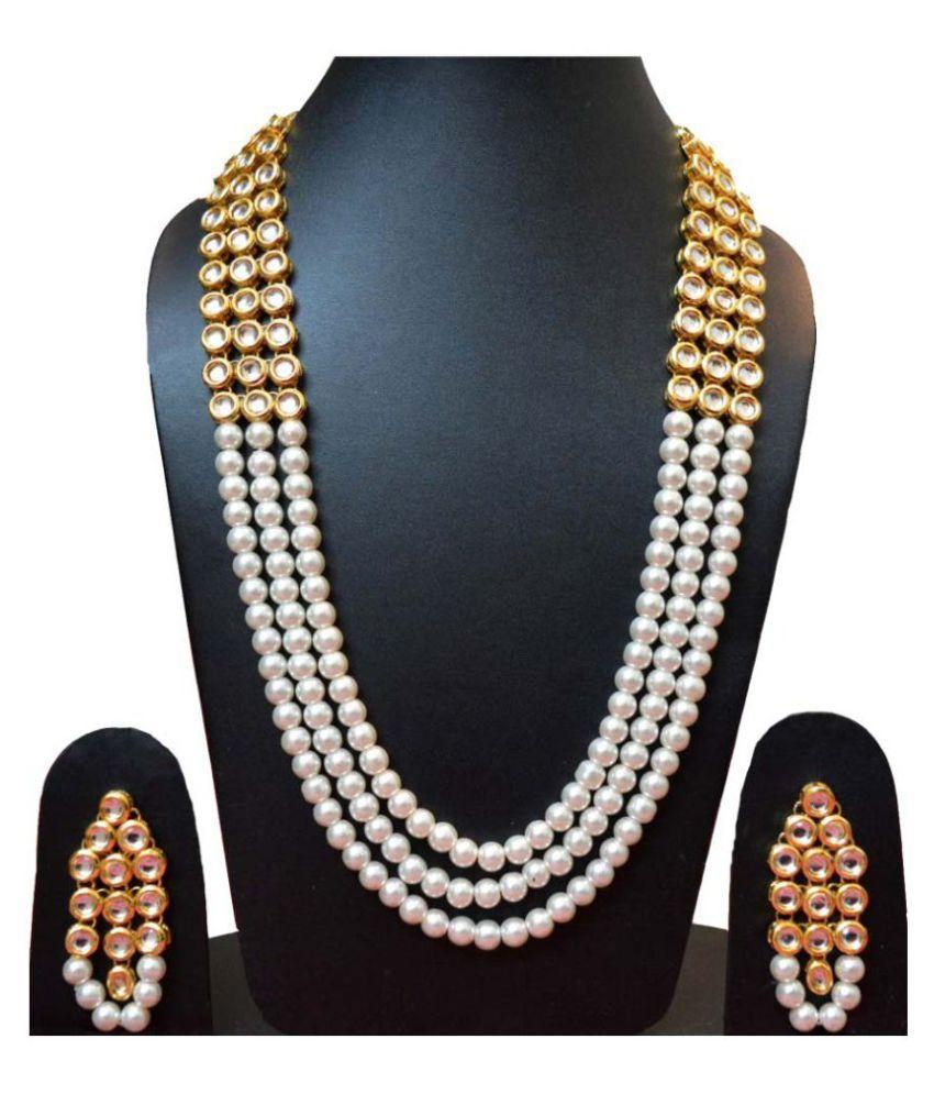 87f0e3b0401 Gehnoor High Quality Artificial Three Triple Layer (Multi Layer) Kundan    Pearl Long Rani Haar Necklace set with Earrings ( Fashion Jewellery ) - Buy  ...