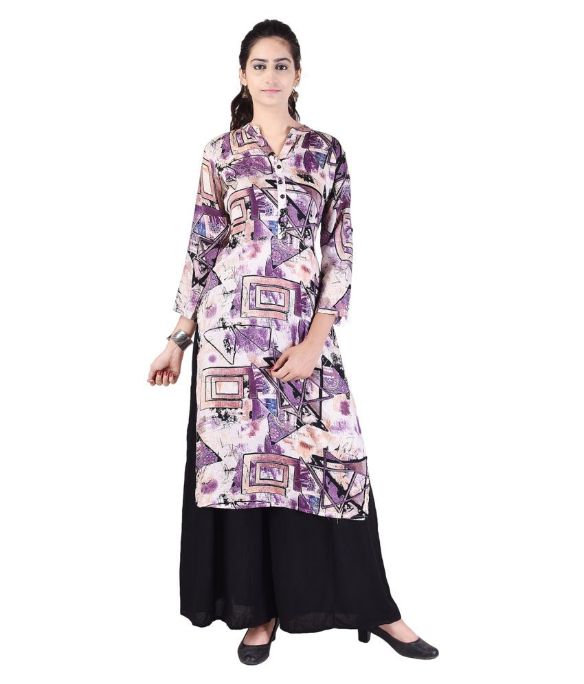 Alfaaz Purple Rayon Straight Stitched Suit