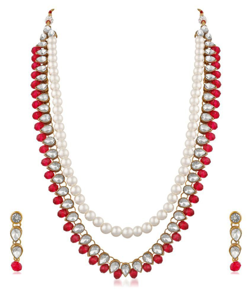 PALASH ADORABLE DESIGNER NECKLACE SET WITH PEARLS AND RUBY STONES FOR WOMEN AND GIRL