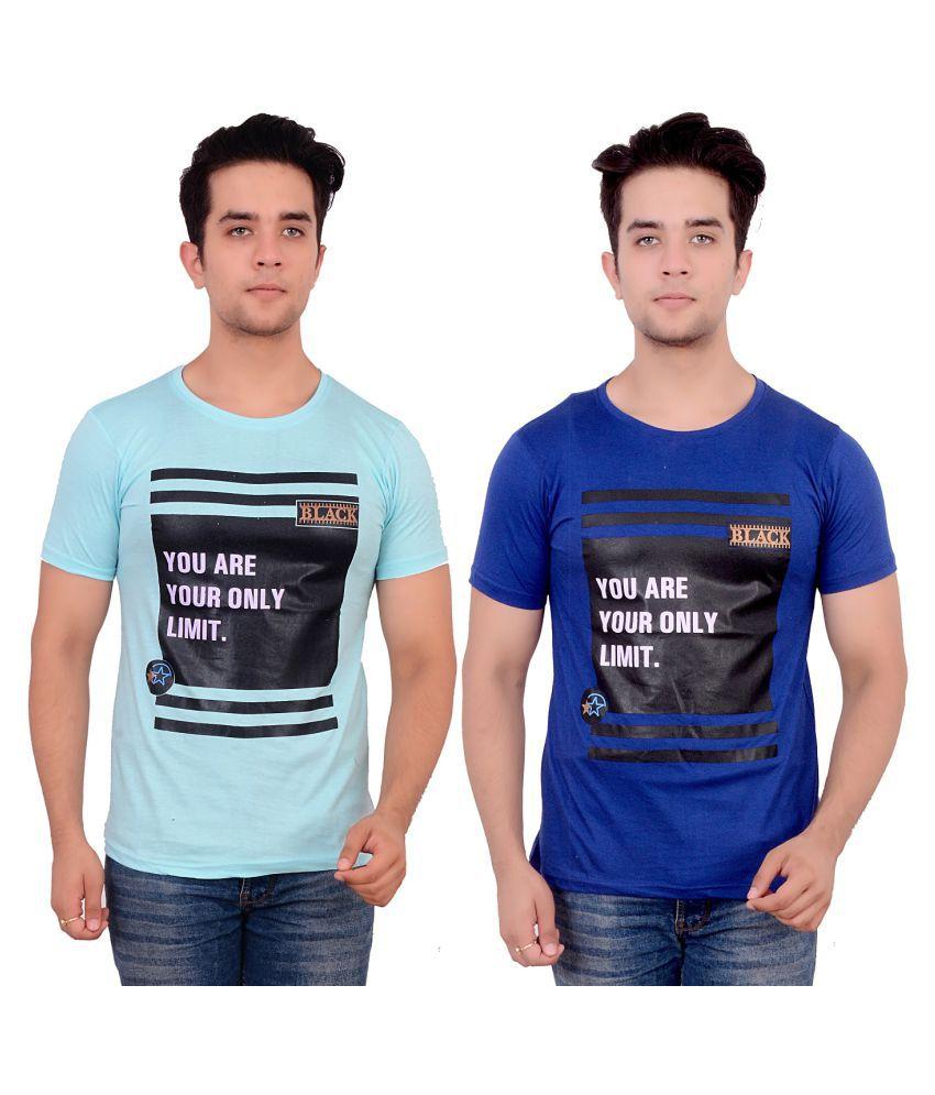 MASCARI Blue Round T-Shirt Pack of 2