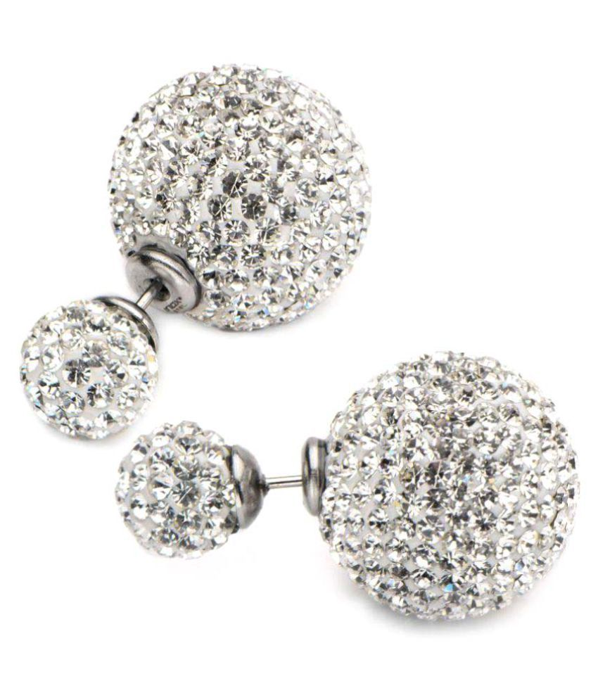 Inox Jewelry Silver Stainless Steel White Crystal Preciosa Maxima Double Ball Studs Earrings