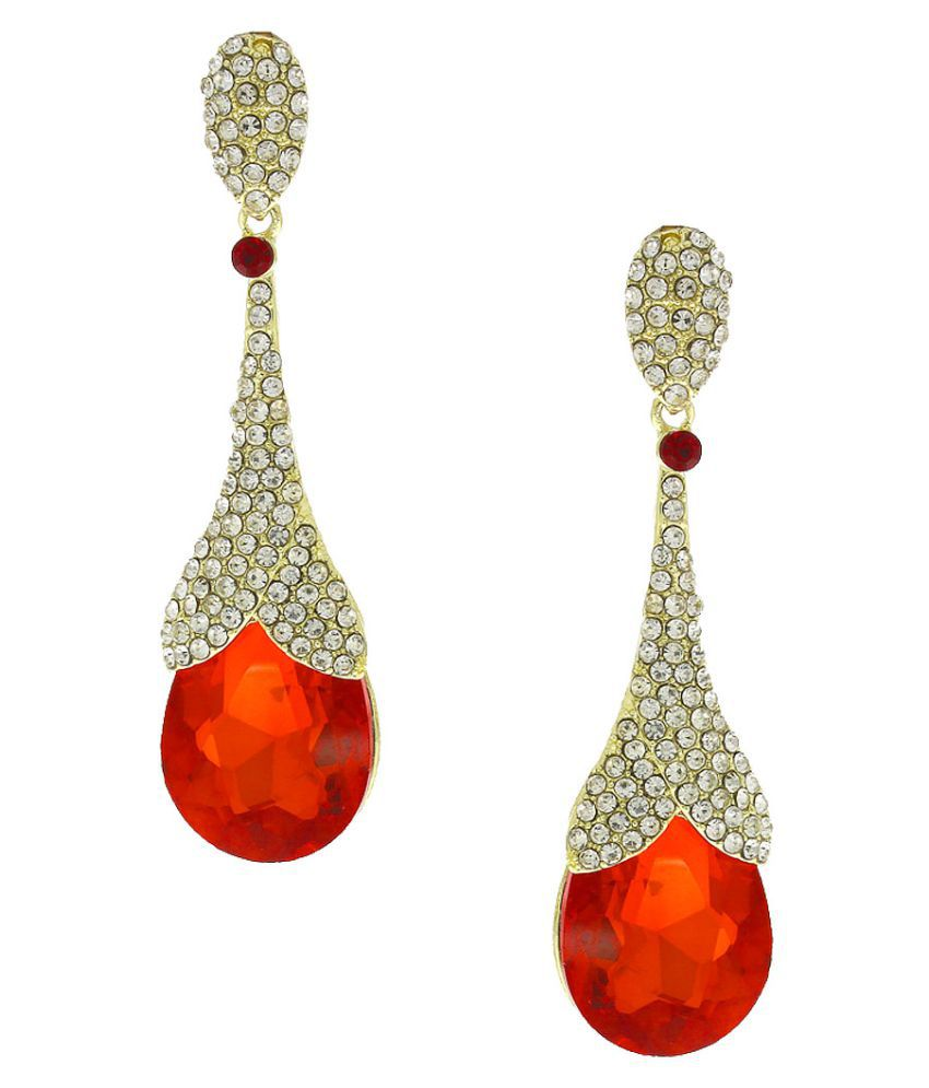 Anuradha Art Golden Finish Orange Colour Wonderful Party Wear Long Fancy Earrings For Women/Girls