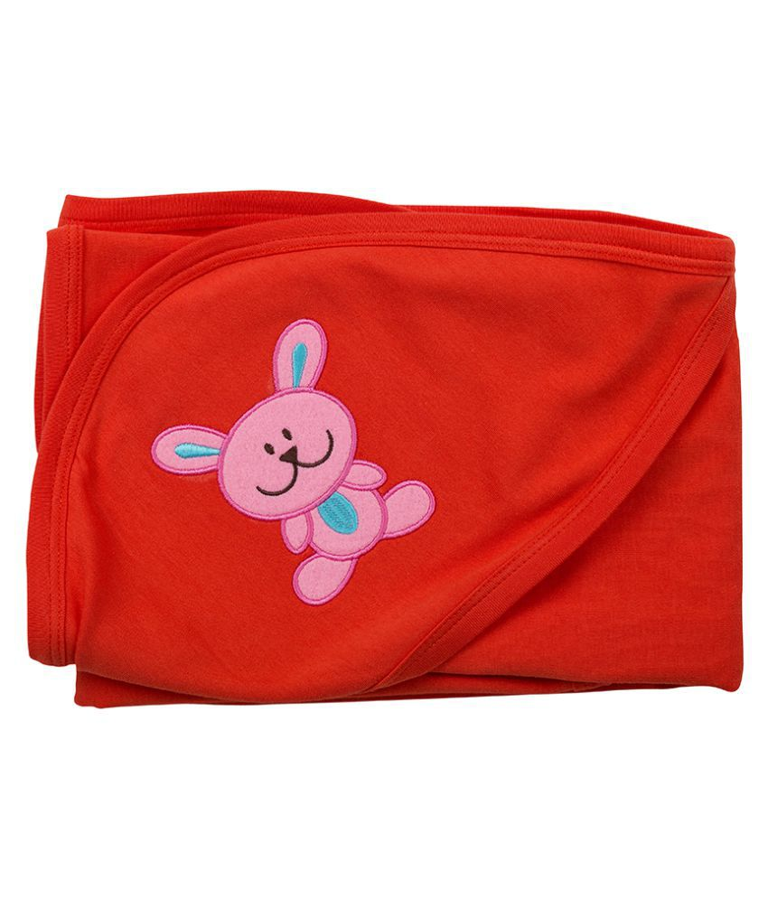 SIMPLY Red Cotton Baby Wrap cum blanket ( 28 cm × 30 cm - 1 pcs)