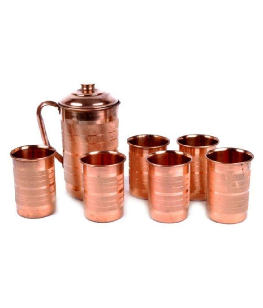 Jaipur Kala Kendra Copper Jug & Glasses - Set of 7