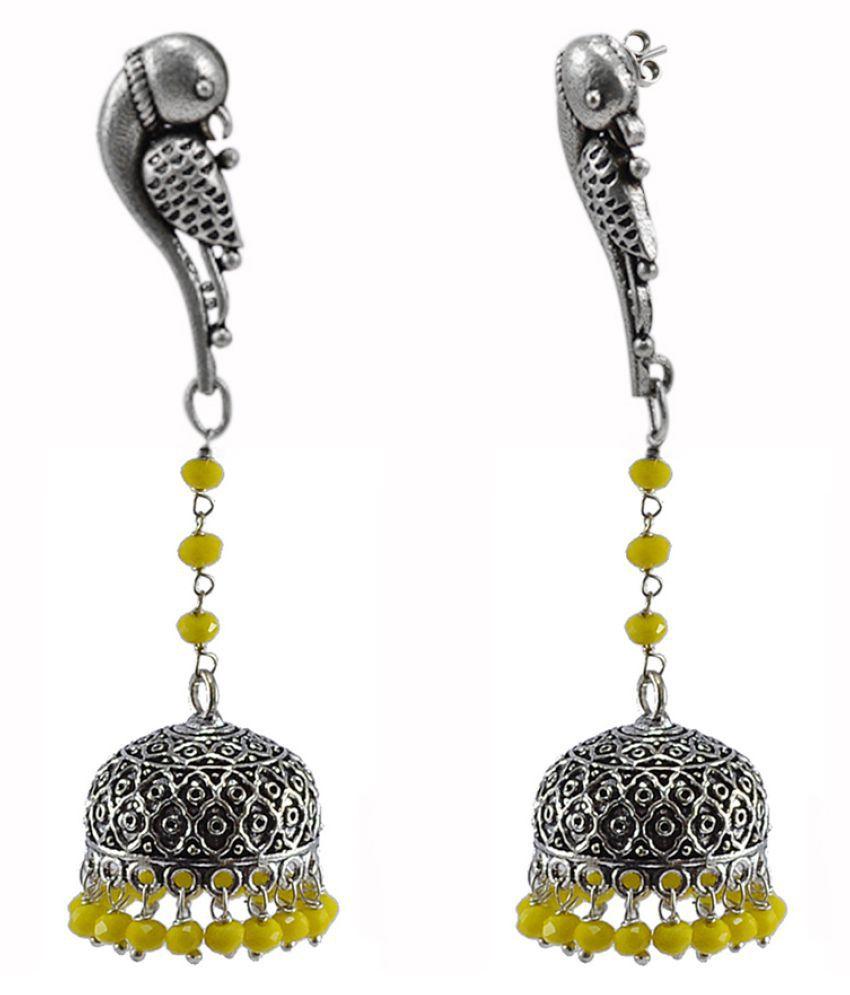 Urban Tribal Jaipuri Handmade Earring-Yellow Crystal Beads And Parrot Studs Jhumki-Silvesto India PG-114232
