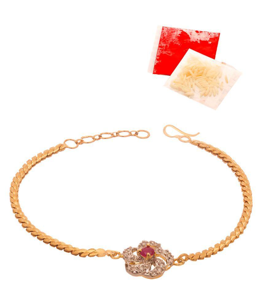 CZ Embellished Gold Toned Rakhi Studded With Red Stone