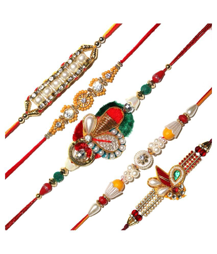 rakhi for brother Send Rakhi Gift Set of 5 Rakshabandhan Exclusive Latest Ethnic Rajasthani Design Fancy Rakhi Raksha Bandhan Gift Band Bracelet Wristband Combo of 5 Fancy Rakhees Send Gift Online for Brother Bhaiya Bhai