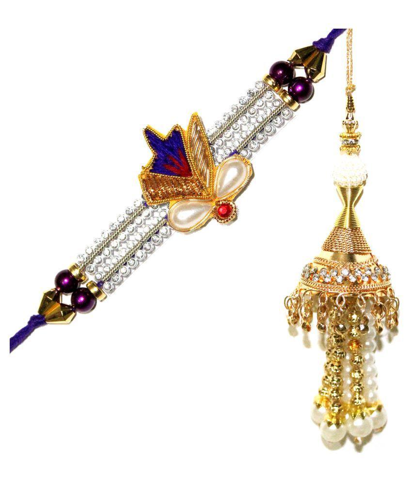 Send Rakshabandhan Ethnic Rajasthani Fancy Rakhi and Designer Lumba for Raksha Bandhan Gift Band Bracelet Wristband for Brother Bhaiya Bhabhi