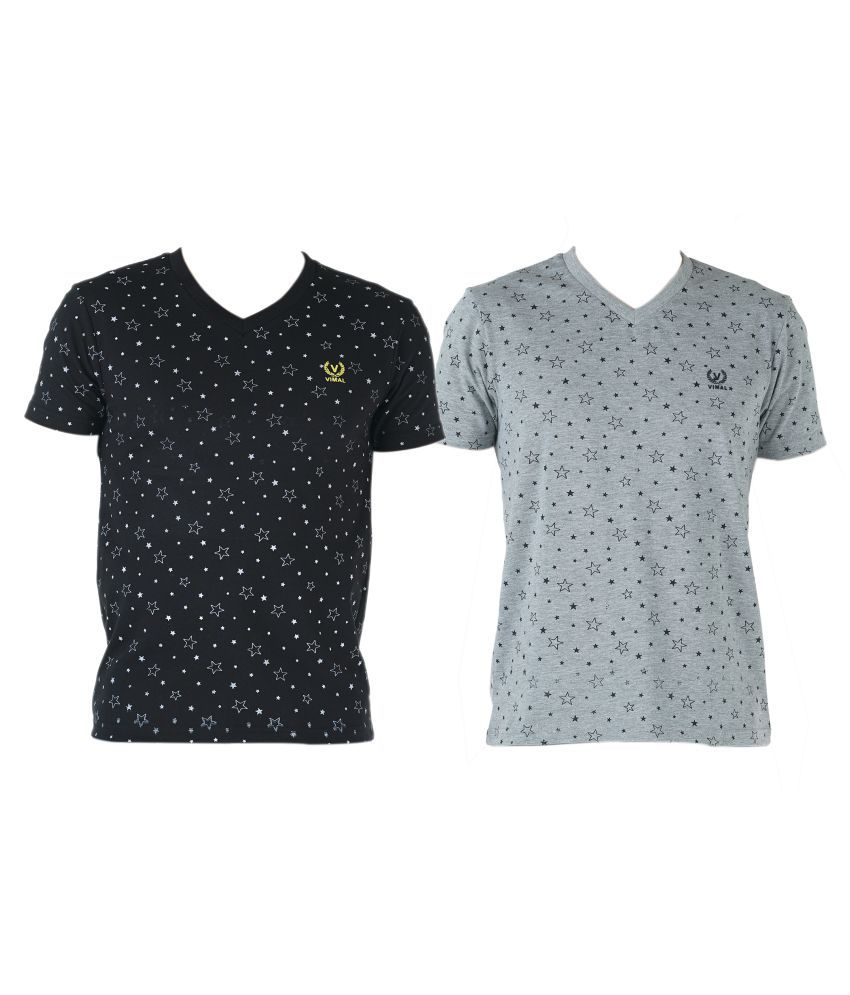 Vimal Multi V-Neck T-Shirt Pack of 2