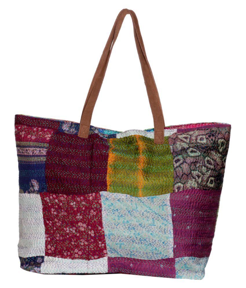 IndiWeaves Multi Fabric Tote Bag