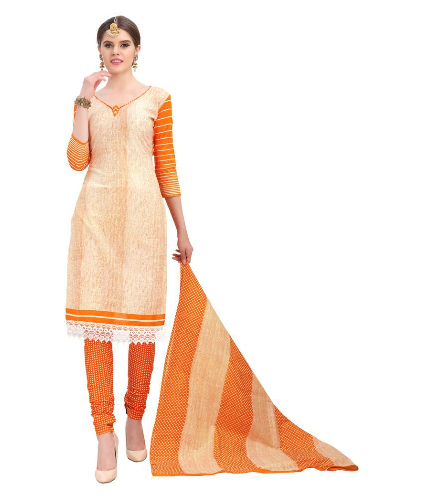 Minu Beige Cotton Dress Material