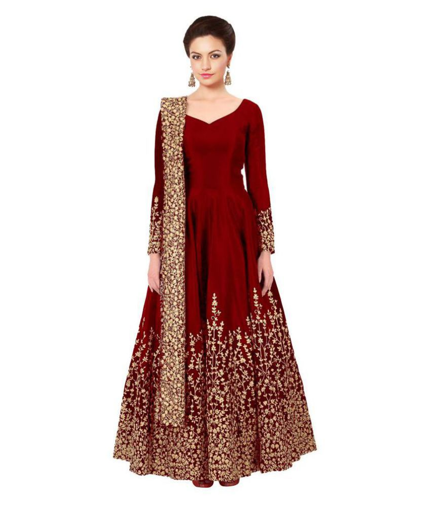 2dab59ca788 Megha Designer Red and Brown Taffeta Anarkali Semi-Stitched Suit - Buy  Megha Designer Red and Brown Taffeta Anarkali Semi-Stitched Suit Online at  Best ...