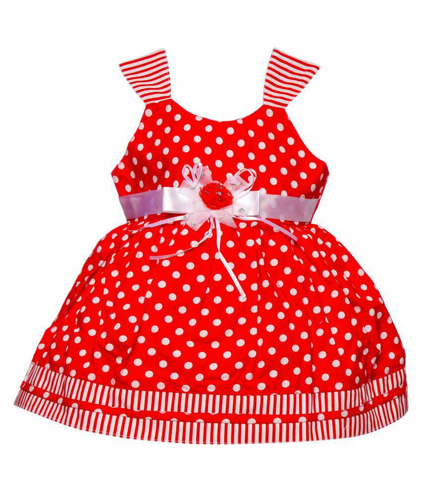 e66a4f440 Littly Baby Girl s Party Wear Polka Print Cotton Frock Dress With Panty (Red