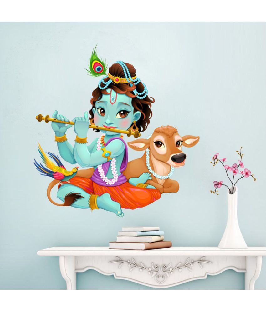 Scotlon Krishna With Cute Calf Vinyl Multicolour Wall