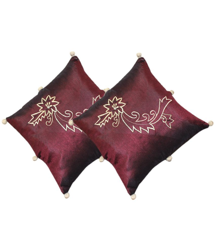 HOME ROYAL Set of 2 Maroon Polyester Filled Cushion