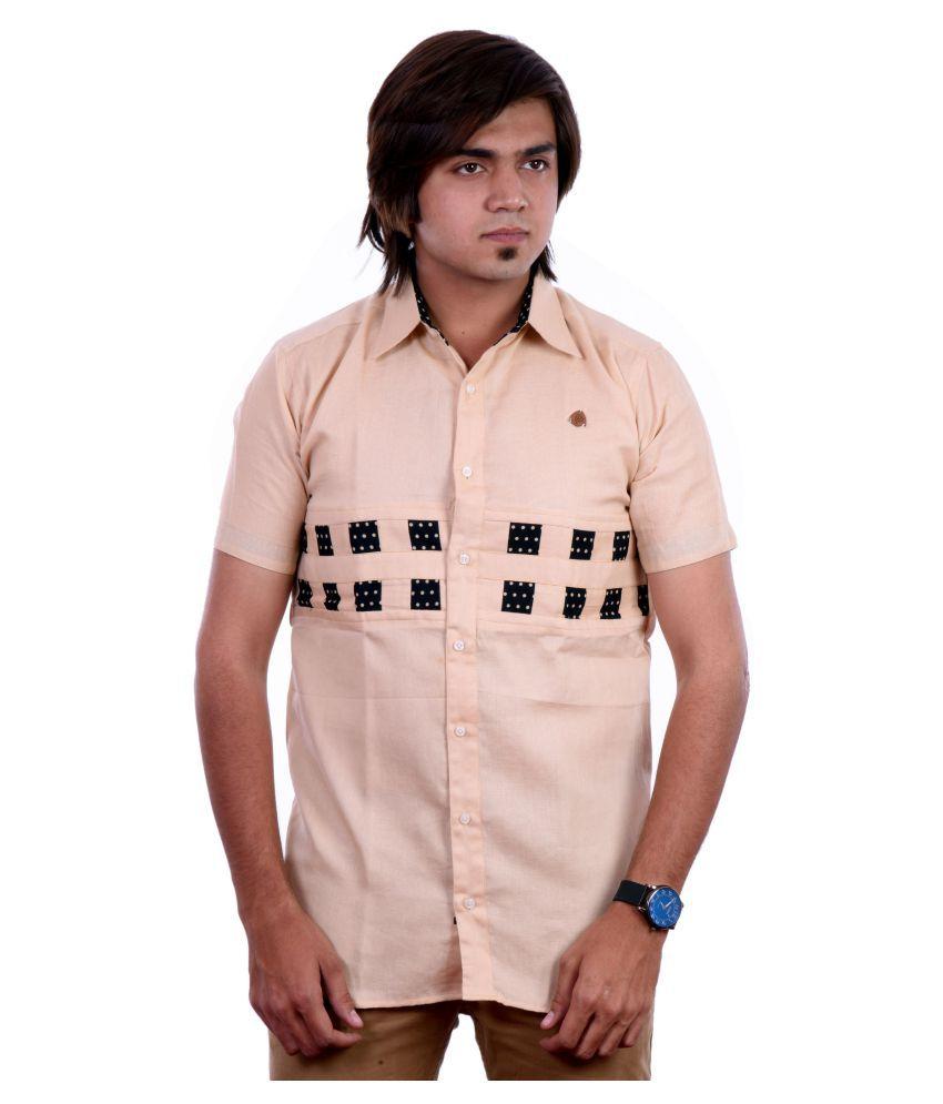 PP Shirts Beige Casual Regular Fit Shirt