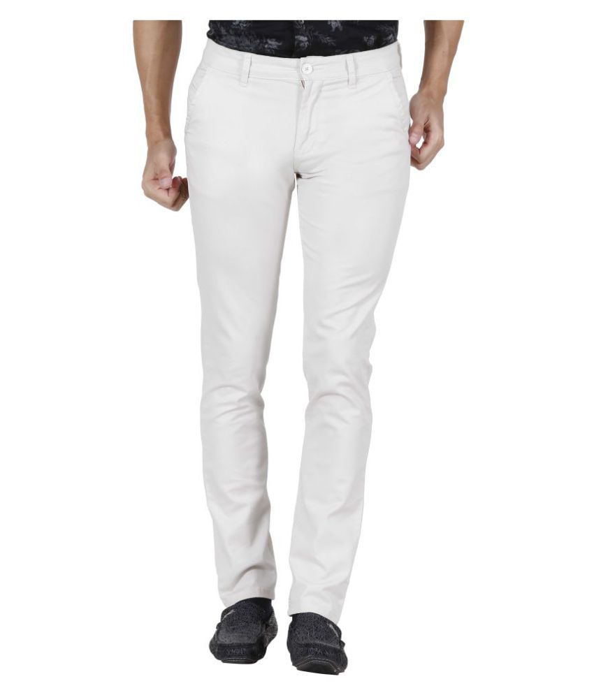 Raa Jeans Off White Slim -Fit Flat Chinos
