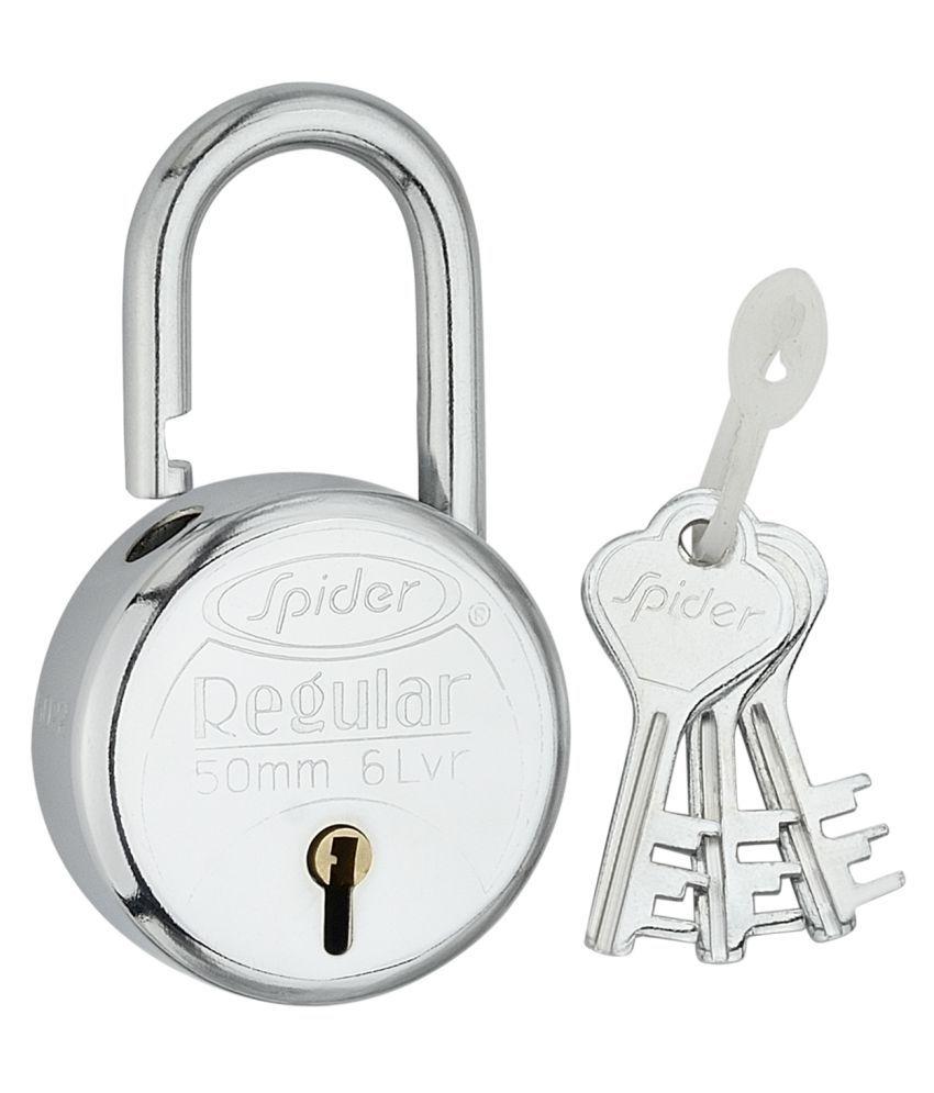 Spider Regular Pad Lock 3Key, RP50 [ 4 Pcs. Pack ]