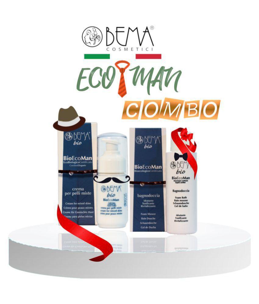 BEMA COSMETICI Cream for Mixed Skin & Foam Shower ECO MAN COMBO Day Cream 250 ml Pack of 2
