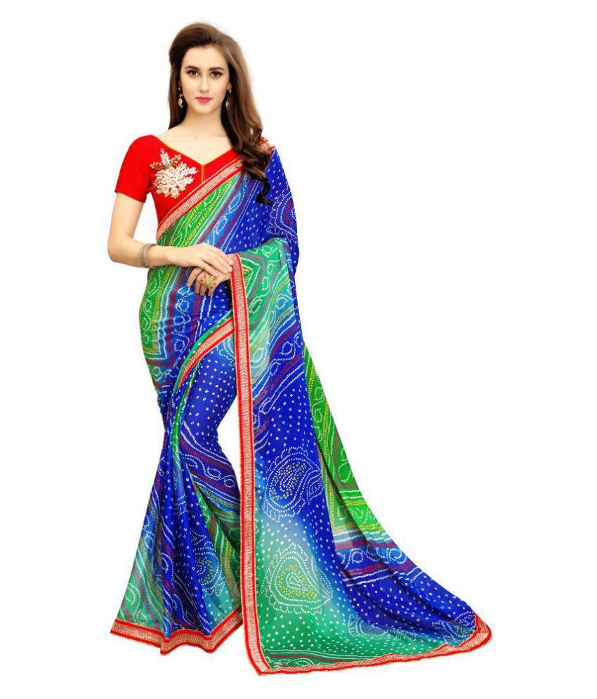 IndianEfashion Multicoloured Chiffon Saree