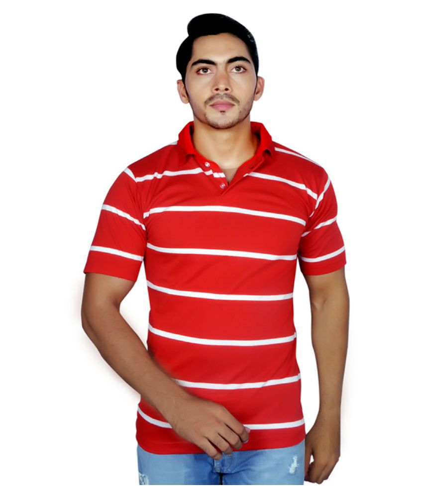Dyed Colours Red High Neck T-Shirt