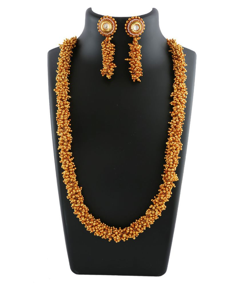 Anuradha Art Golden Finish Designer Beads Styled Wonderful Traditional Necklace Set For Women/Girls
