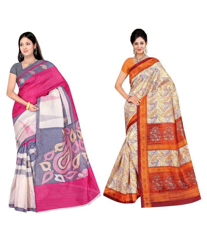Winza Designer Multicoloured Bhagalpuri Cotton Saree Combos