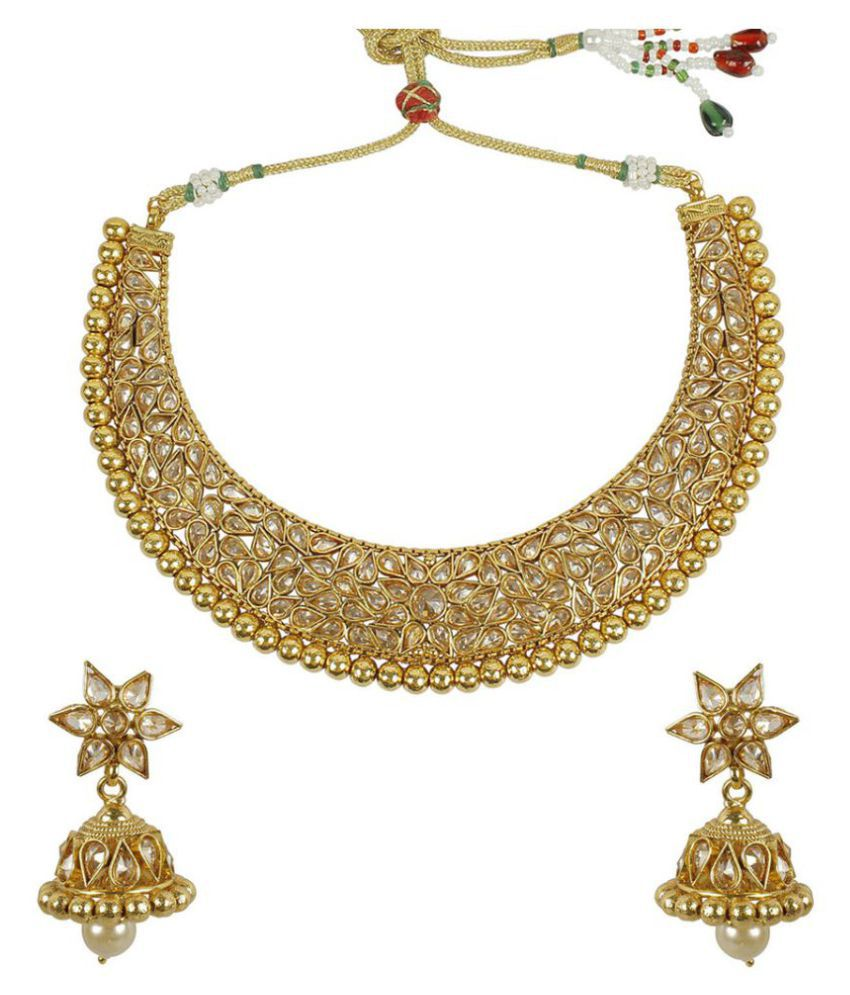 New Necklace Earring Set Gold Polki Jewellery Indian: MUCH MORE 22k Gold Plated Brass Made Polki Necklace Set