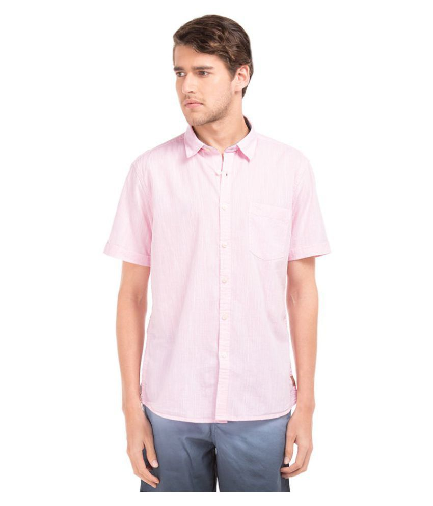 Flying Machine Pink Casual Slim Fit Shirt
