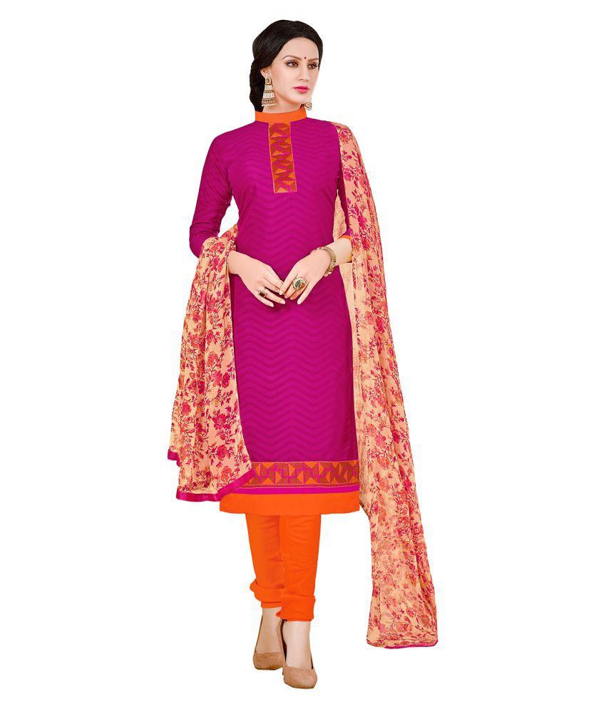 Saree Mall Pink Jacquard Dress Material