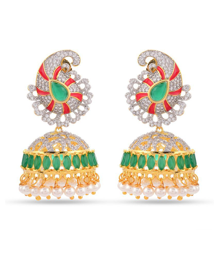 Floral Enamelled American Dimonds Colored Stones Desginer Stylish Party Wear Jhumki / Jhumka Earring For Girls / Women