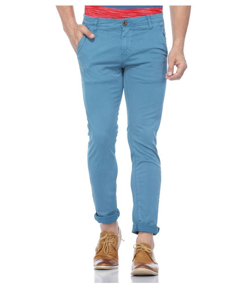 Tinted Blue Slim -Fit Flat Chinos