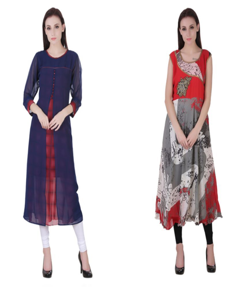 VF FASHIONS Multicoloured Georgette Straight Kurti