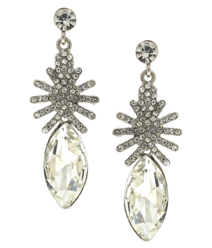 Anuradha Art Silver Finish Studded White Colour Stone Party Wear Fancy Long Earrings For Women/Girls